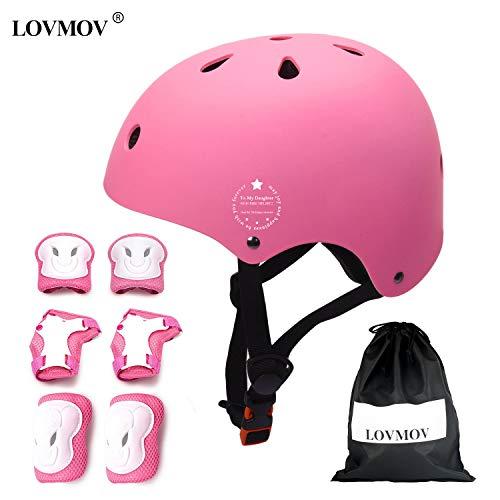LOVMOV Kinder Fahrradhelm Set Schutzausrüstung Set Ellenbogenschoner Knieschoner Handgelenkschoner für Kinderroller Skateboard Radfahren Iliner 3-8 Jahres alt Jungen Mädchen (rosa)