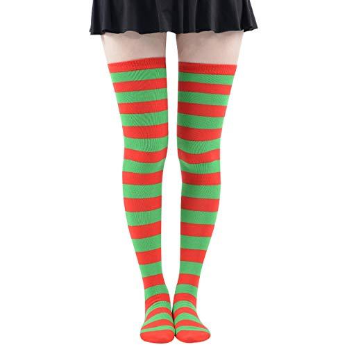 MK MEIKAN Long Socks for Women, Green High Thigh Socks Leg Warmers Knee Colorful Rainbow Socks Cute Holiday Crazy Fun Witch Elf Cosplay Girls Stocking Warm Comfy Socks, Green Red Striped