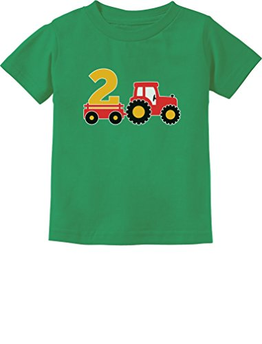 2nd Birthday Gift Construction Party 2 Year Old Boy Toddler Infant Kids T-Shirt 24M Green