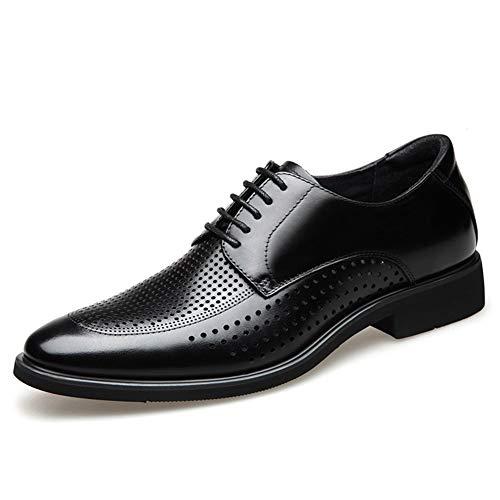 CAIFENG Zapatos de vestir transpirables de estilo Oxford para hombre con cordones de piel auténtica con tacón plano, resistente al desgaste, punta redonda clásica (color: negro, talla: 38 EU)