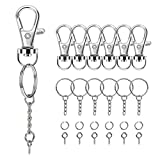 160PCS Swivel Snap Hook with Key Chain Rings Set- 40PCS Swivel Lobster Clasp, 40PCS Key Rings with Chain, 40pcs Jump Rings and 40pcs Screw Eye Pins for Keychain Lanyard, Crafts and Jewelry Making