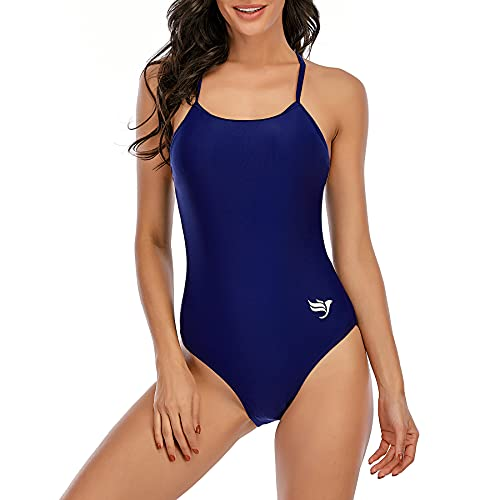 Zando One Piece Swimsuits for Women Tummy Control Bathing Suits Athletic Swimsuits Women's Swimwear Cover Ups Summer Navy 10-12
