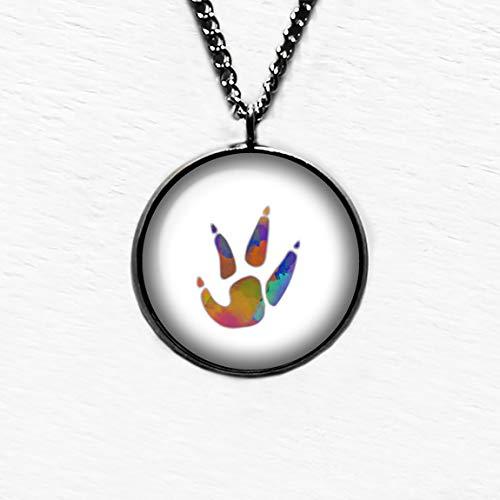 Chicken Paw Print Rainbow Watercolor Hähnchen Tatzen Druck Regenbogen Aquarell Anhänger und Halskette