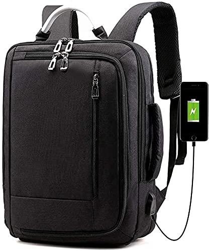 artizan Mochila portátil, Bolsa de Viaje de Viaje con USB Puerto de Carga, Bolsas portátiles portátiles para Mujeres y Hombres se Adapta a Casos de portátiles 15.6 Pulgadas (Color : Black)