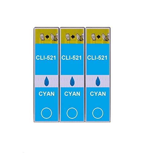 3 Druckerpatronen im Set; kompatibel zu CLI-521C Cyan mit CHIP und Füllstandanzeige; Patronen der Marke D&C; diese Tintenpatronen sind geeignet für folgende Canon Drucker Pixma IP3600 IP4600 IP4600X IP4700 MP540 MP550 MP560 MP620 MP630 MP640 MP640R MP980 MP990 MX860 MX870
