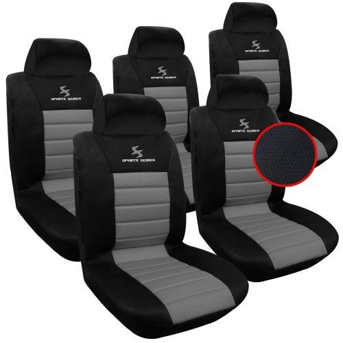 WOLTU 5X Fundas de Asiento para Coche Universal Delantero y Traseros Cubierta para Asiento Automóvil sin Bolsa de Aire 100% Poliéster Negro/Gris AS7556-5