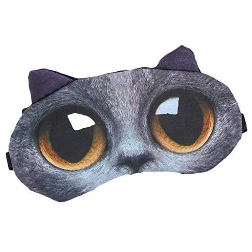 DAKERTA Schlafmaske Lustig Augenmaske Süße Schlafbrille mit 3D Ohr Katze Hund Augenbinde Augenabdeckung für Frauen Kinder Zug Bus Flugzeug Reise Büro Mit Eissack (C)