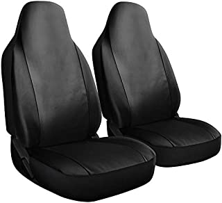 Motorup America Auto Seat Cover Set - Integrated Bucket Seat - PU Leather Covers Fits Select Vehicles Car Truck Van SUV - Newly Designed - Solid Black