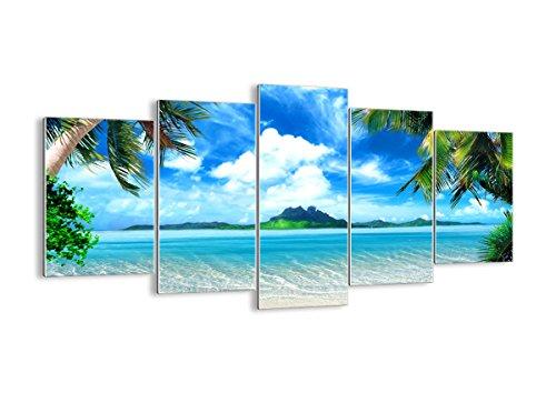 ARTTOR Quadro su Vetro - 5 Parties - Spiaggia Vacanza Isola Palma - 160x85cm - Pronto da Appendere - Home Decor - Arte Digitale - Quadri Moderni in Vetro - Stampe da Parete - GEA160x85-2528