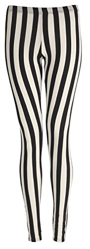 Islander Fashions Damen Plain Stretchy Leggings Damen In voller L�nge Gedruckt D�nne Legging Hosen Vertikale Streifen S/M EU 36-38