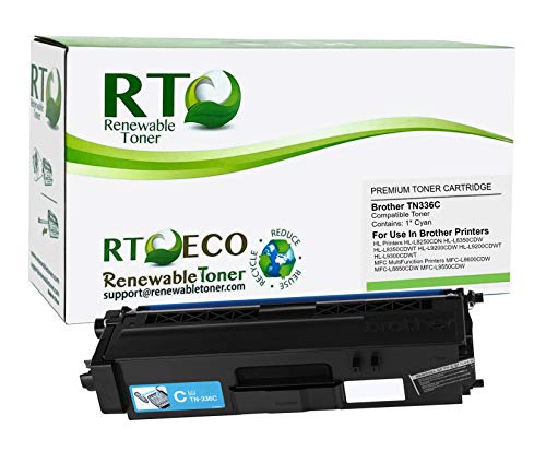 Renewable Toner Compatible Laser Toner Cartridge High Yield Replacement for Brother TN-336C TN336C HL-L8250 L8350 MFC-L8600 L8850 (Cyan)