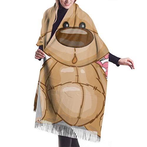 Bufanda ligera de 27'x77' para mujer, bonito diseño de oso de peluche con flores, chal grande, bufanda de cachemir, chal elegante