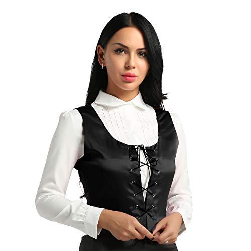 CHICTRY Damen Mittelalter Kostüm - Retro Weste Anzugweste Korsett mit Schnürung Gothic Halloween Kostüm für Mittelalterkleid Hexenkostüm Schwarz Medium