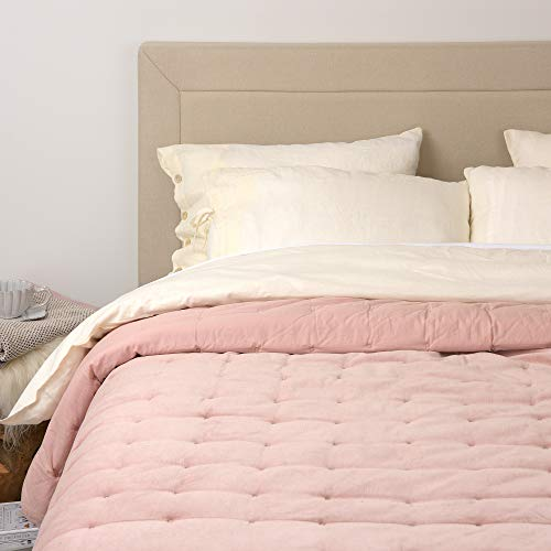 """Best Home Fashion Velvet and Cotton Tufted Quilt- Casual Elegance, Lightweight and Stylish Bedding, Blanket-QUEEN-PINK-88"""" L x 92"""" W"""