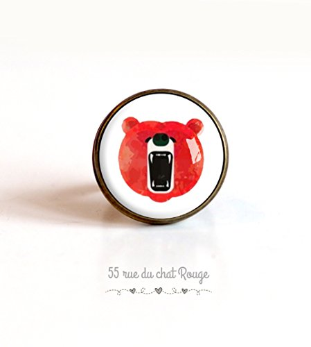 Ring cabochon 20 mm Cabochon bear, wild animal, red and white