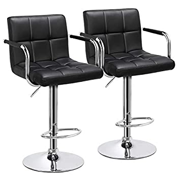Yaheetech Bar Stools Adjustable Counter Stools Bar Chairs Synthetic Leather Modern Design Swivel Barstools Gas Lift Stools for Kitchen Counter 360 Degree Swivel Seat Top Set of 2 Black