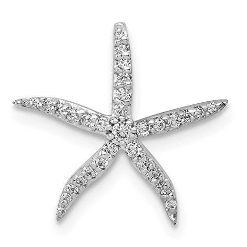 14k White Gold 1/8ct. Diamond Starfish Chain Slide (0.125 Ct Diamond)
