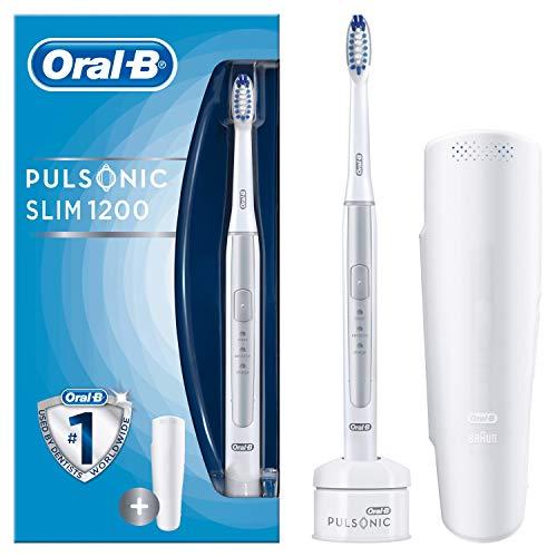 Oral-B Pulsonic Slim 1200 Elektrische Schallzahnbürste, mit Timer, 1 Aufsteckbürste und Reise-Etui, silber