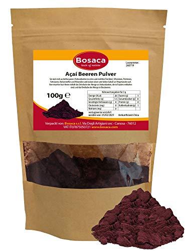 Açaí Beeren Pulver - Gefriergetrocknet - Extrakt aus Pulp der Acai-Beeren Frucht - im Zippbeutel - 100% Natürlich | Premium Qualität - 100 g - Zufrieden oder Rückerstattung