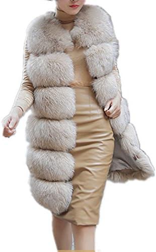 Women s Faux Fox Fur Vest Long Fur Jacket Warm Faux Fur Coat Outwear Beige 4XL product image