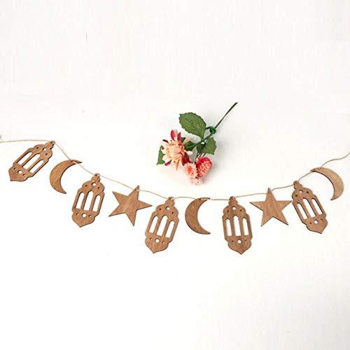 Eid Ramadan Mubarak - holle houten decoraties Home Hanging Moon lantaarn Star Crafts hanger met 1,5 M touwen