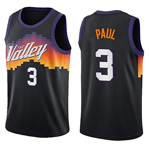 Dybory Camiseta De Baloncesto para Hombre De Nueva Temporada, Camiseta NBA Phoenix Suns # 3 Paul, Camiseta Sin Mangas De Malla Transpirable De Secado Rápido,Negro,6XL