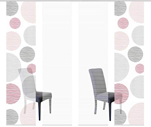 Vision S 94553 | 4er-Set Schiebegardinen Borden | halb-transparenter Stoff in Bambus-Optik | 4X 260x60 cm | Farbe: (rosé)