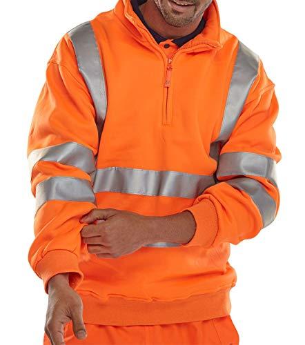 Fashion's island Herren Arbeitsschutz-Fleece-Hemd, hohe Sichtbarkeit, mit halbem Reißverschluss Gr. M, Orange