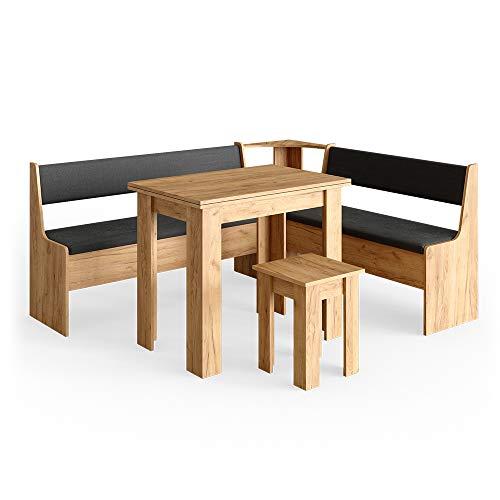 Vicco Eckbankgruppe Roman Esszimmergruppe Eckbank Sitzgruppe Tisch Hocker (GoldCraft Eiche, 180x150cm)
