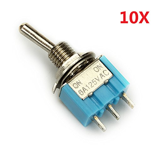 ILS - 3 Pins Toggle Wippschalter 10pcs MTS-102 ON/ON SPDT AC 125V 6A Wendao
