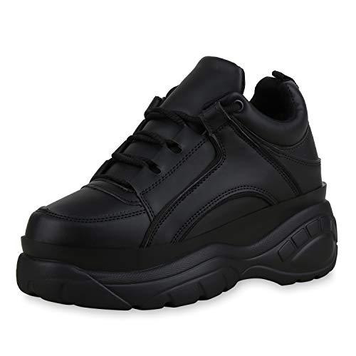 SCARPE VITA Damen Chunky Sneaker Plateau Turnschuhe Schnürer Leder-Optik Schuhe Derbe Freizeitschuhe Profilsohle 183218 Schwarz Total 40