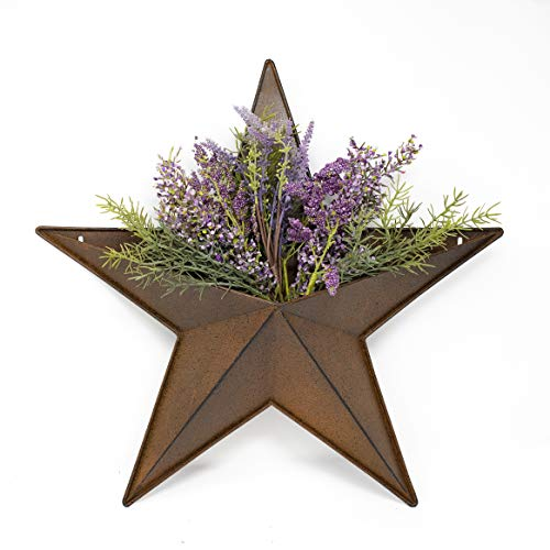 Hanging Metal Star Wall PLANTERS - 20' Rusty barn Pocket Stars Great for Indoor Outdoor Planter pots for Succulent Faux Flowers Strawberry or herb Garden Buckets. Rustic Country Farmhouse Decor.