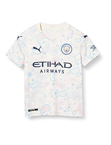 PUMA MCFC Third Shirt Replica SS Kids with Sponsor Logo Camiseta, Unisex niños, Whisper White/Peacoat, 140
