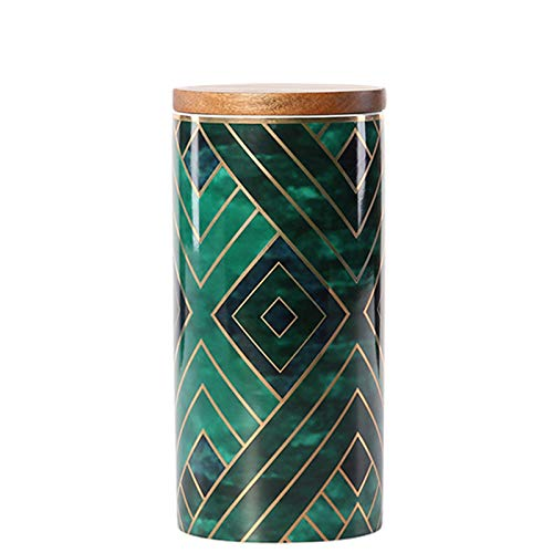 Keramikdosen, exquisite orientalische grüne Keramikdosen für die Küche, Gewürzaufbewahrung, Teedose, Kaffeedose mit Holzdeckel (20,5 x 9,8 cm)