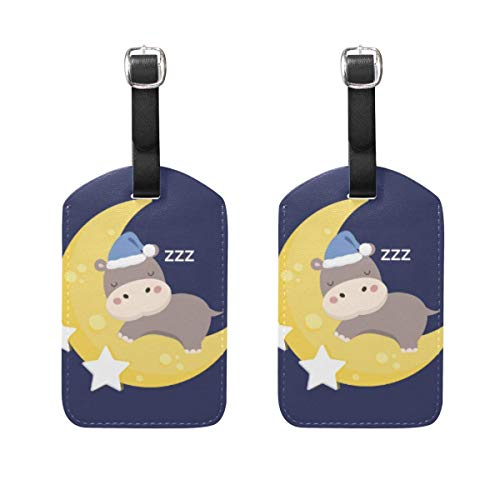 2PCS Cute Hippo Travel Luggage ID Tags Genuine Leather Bag Tags with Full Back Privacy Cover TAG-2483
