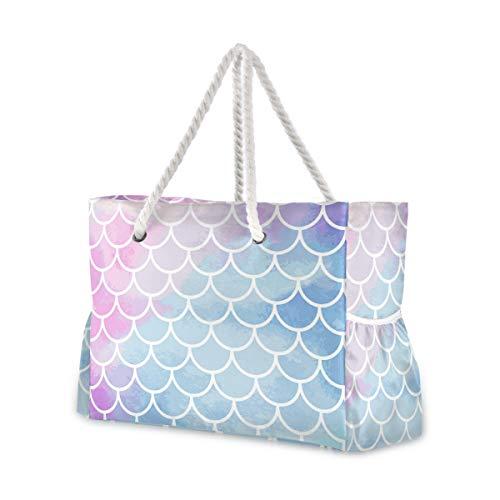 MNSRUU Extra große Damen Strandtasche Organizer Tasche für Urlaub Picknick Pink Blau Meerjungfrau Schuppen geometrische Schultertasche Reise Gym Bag