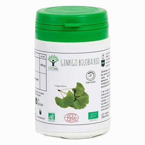 Ginkgo Biloba bio - Bioptimal - Complément alimentaire - Mémoire - Circulation - Vertige - Made in France - Certifié par Ecocert (60 gélules)