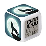 Cointone Led Alarm Clock Wolf Moon Design Creative Desk Table Clock Glowing Electronic colorful Digital Alarm Clock for Unisex Adults Kids Toy Birthday Present Gift