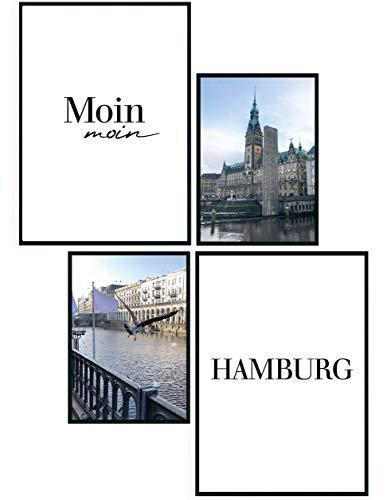 moebeldeal 4er Set Poster Hamburg - 2X DIN A4, 2X DIN A5 - Typografie Print Deko Plakat Bild Bilder - für Küche Wohnzimmer oder Schlafzimmer - Hamburg Souvenir - Moin Moin - Digga