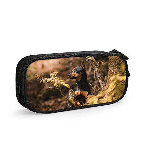 Portamatite portatile elegante cane in miniatura Pinscher moda cerniera penna marcatore titolare sacchetto sacchetto trucco borsa penna borsa per ufficio adolescenti ragazza/uomo nero