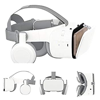 3D VR Glasses/Headset Virtual Reality Headset Cellphone 3D Movie/Game Viewer [Newest]+Bluetooth Headphones for iPhone 12 Mini 11 Pro Max XS XR X 8 7 6S Plus Samsung Galaxy S20 S10 S9 S8 S7 Edge Plus