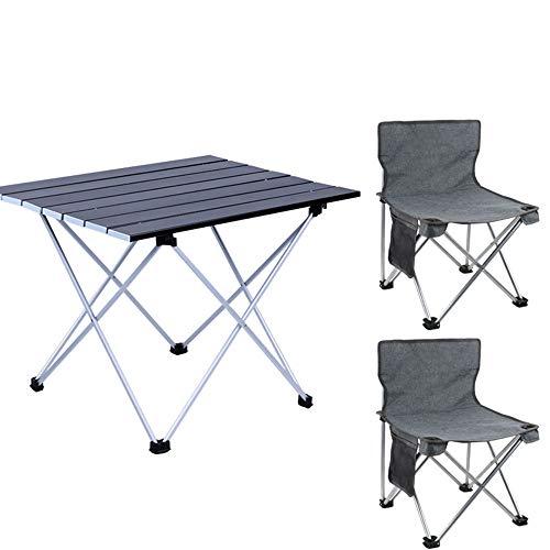 Mesa y Silla Plegables al Aire Libre Simples, aleación de Aluminio Ultraligera, Traje portátil de Tres Piezas, Adecuado para el Ocio al Aire Libre, Camping y montañismo, etc.