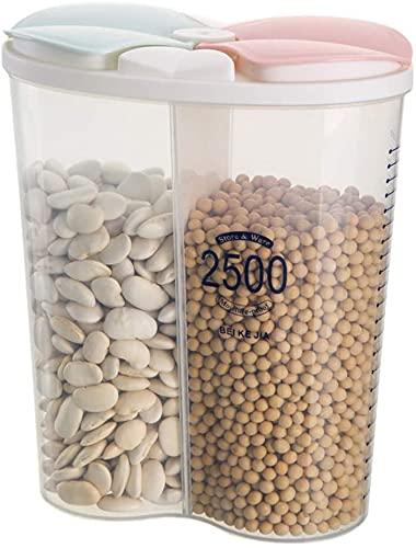 Yulang 2 Rejillas Tarro de Almacenamiento, 2500ML Multi Cuadrícula Recipientes para Alimentos, Botes Cocina, Contenedor de Comida, Tarros Despensa para Cereales, Pasta, Meriendas (2 Rejillas 2500ML)