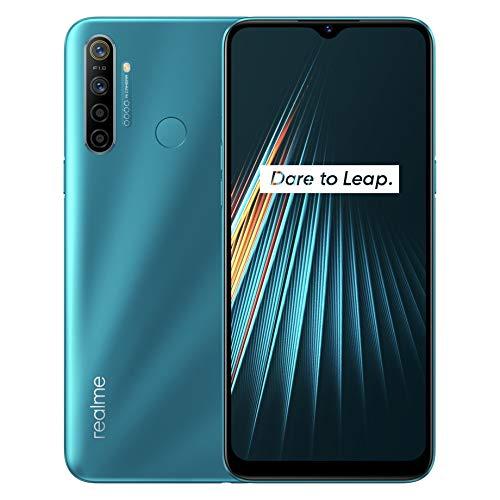 realme 5i Smartphone, 4 GB RAM 64 GB ROM 6.5 '' Snapdragon 665 AIE 12MP Quad Quad 5000mAh 3-Card Slot Móvil, Carga inversa, versión EU, Azul