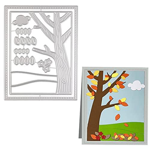 OOTSR Tree Metal Die Cuts, Background Frame Cutting Dies, Dies for Card Making, Craft Scrapbooking Die Cuts, Metal Embossing Stencil for DIY, Paper Card Decorations