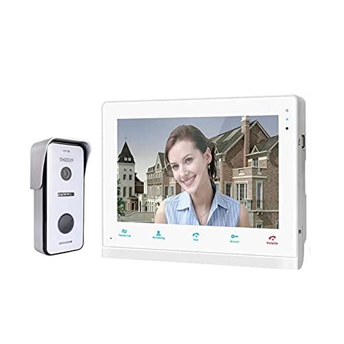 HYAN Timbre Sistema de intercomunicación Inteligente de Video WiFi WiFi WiFi de 10 Pulgadas, Monitor de Pantalla de 1xtouch + 1x720p Cámara de teléfono con Cable Timbre Inalambrico (Color : White)