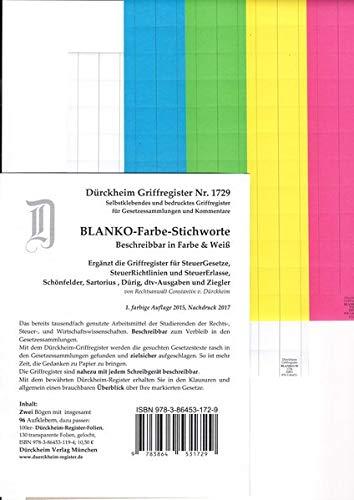 DürckheimRegister BLANKO: FARBE-GROSS beschreibbar: 96 vierfarbige beschreibbare Registeretiketten (sog. Griffregister) zur Befestigung an ... zu Dürckheim-Markierungen mit Stichworten