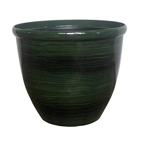 """The Your Choice Garden 10' Oriental Indoor and Outdoor Faux Ceramic Plastic Resin Planter Pot for Growing Plants and Herbs. 10"""" Planter and Pot, Green Brush"""