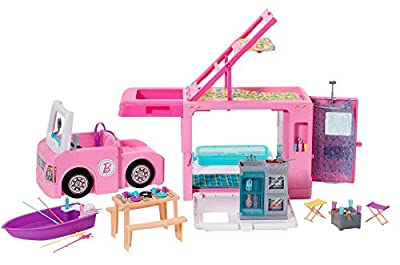 ?Barbie 3-in-1 DreamCamper Vehicle, approx. 3-ft, Transforming Camper with Pool, Truck, Boat and 50 Accessories, Makes a Great Gift for 3 to 7 Year Olds, Multicolor