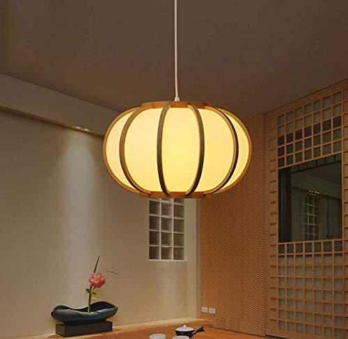 Retro-stijl plafondlamp woonkamer kantoor deken, handgemaakte bamboe scherm, hangende plafondlamp, ellipsoidvorm, natuurlijke houtkleur bruin intelligent